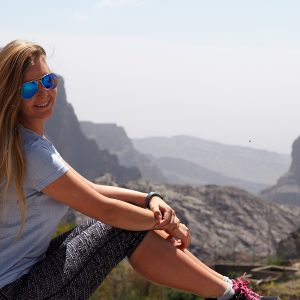 Alice with Jabal Akhdar Mountains view