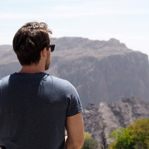 Steve looking out and admiring the mountain views at Alila Jabal Akhdar