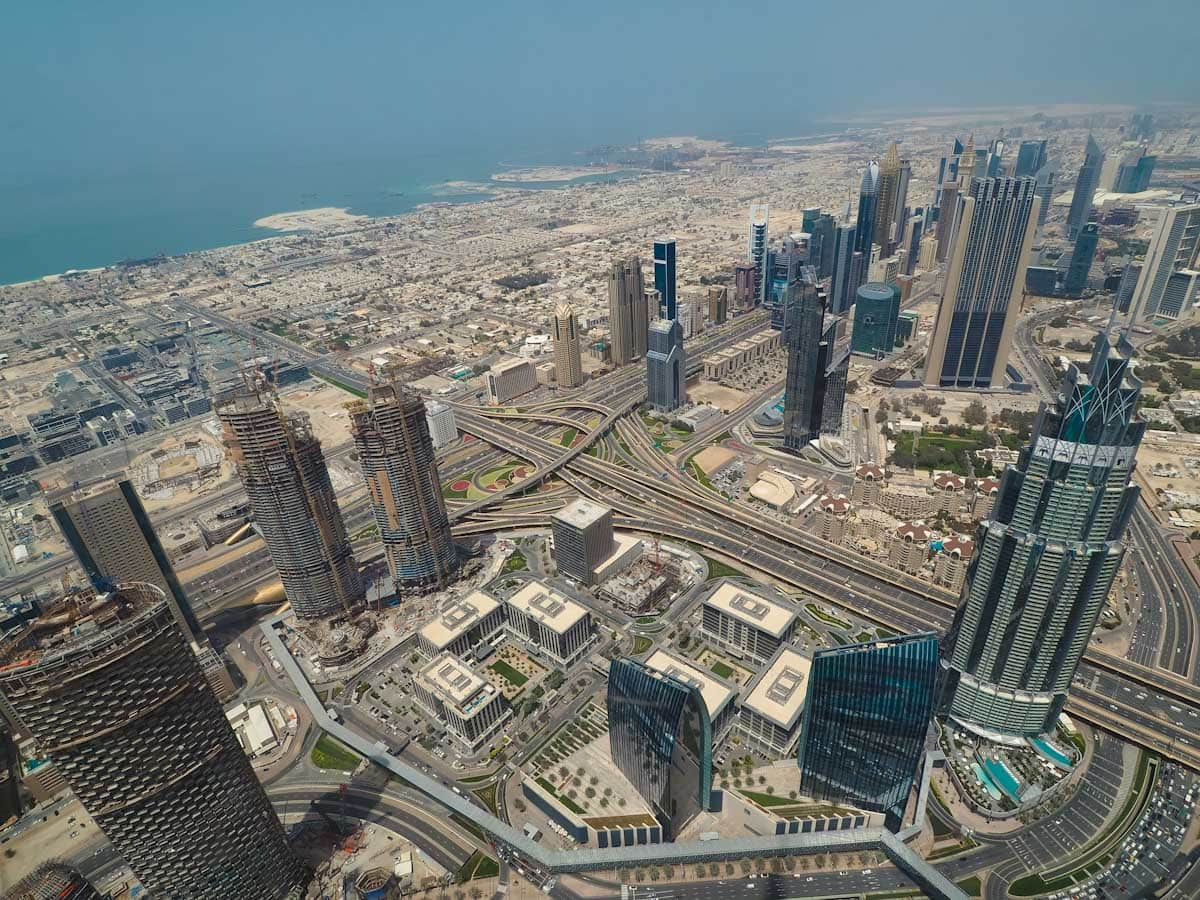 View of Dubai from at the top of the Burj Khalifa