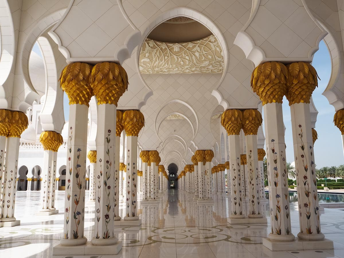 Gold leaf decorated pillars at Sheikh Zayed Grand Mosque The Travel Escape
