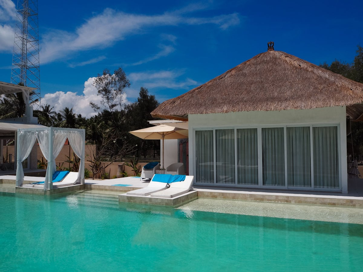 The pool and beach bungalow at Villa Gili Bali Beach - Gili Trawangan Bali - The Travel Escape