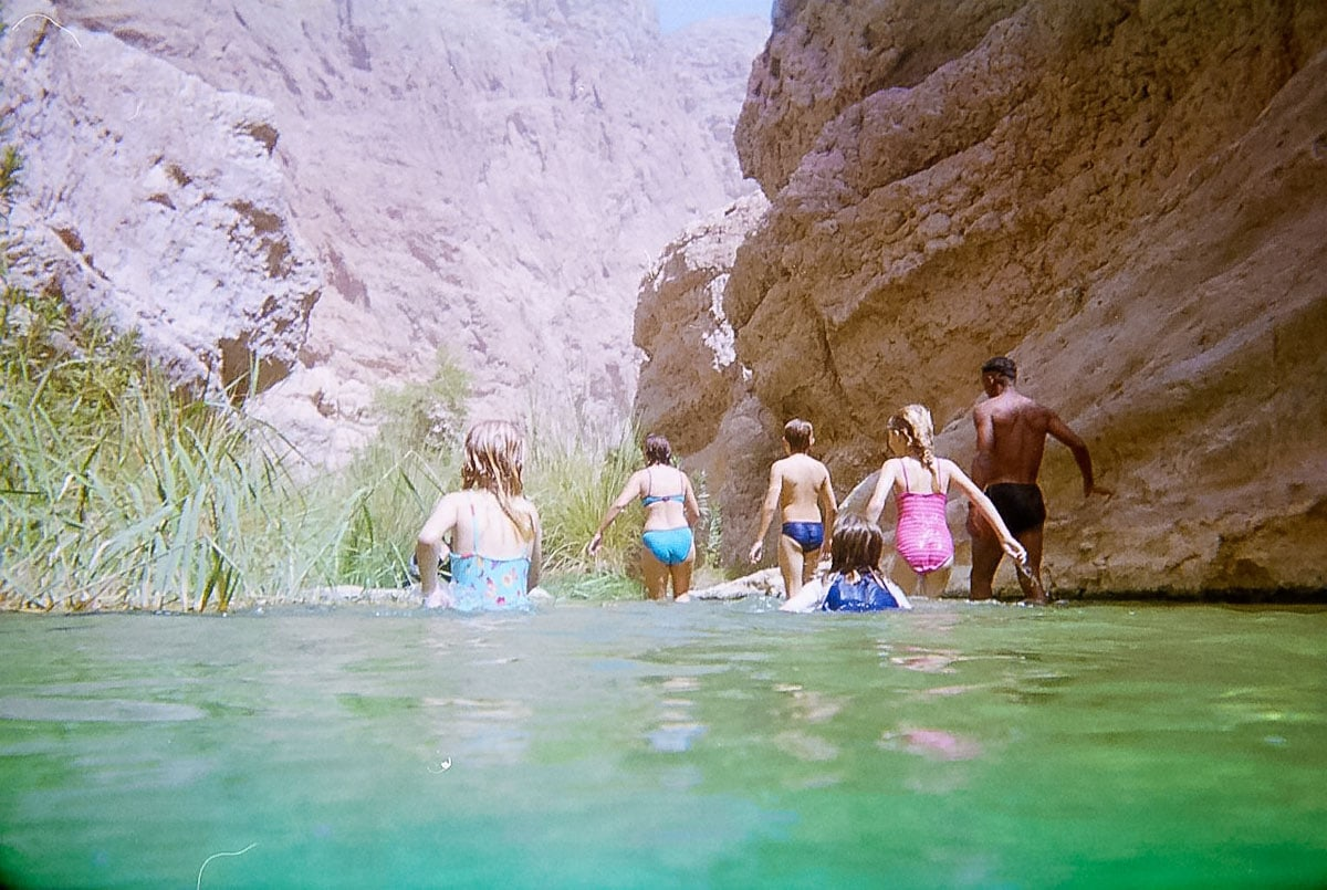 Swimming through Wadi Shab Oman