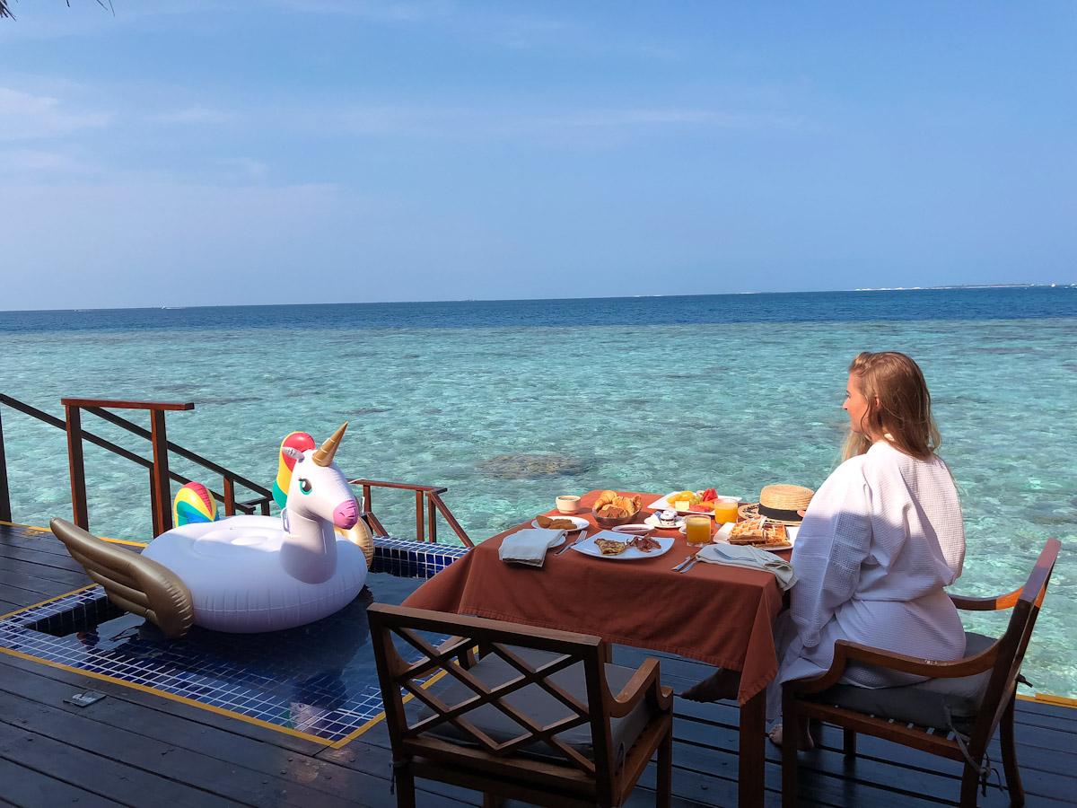 Breakfast at our private sea villa
