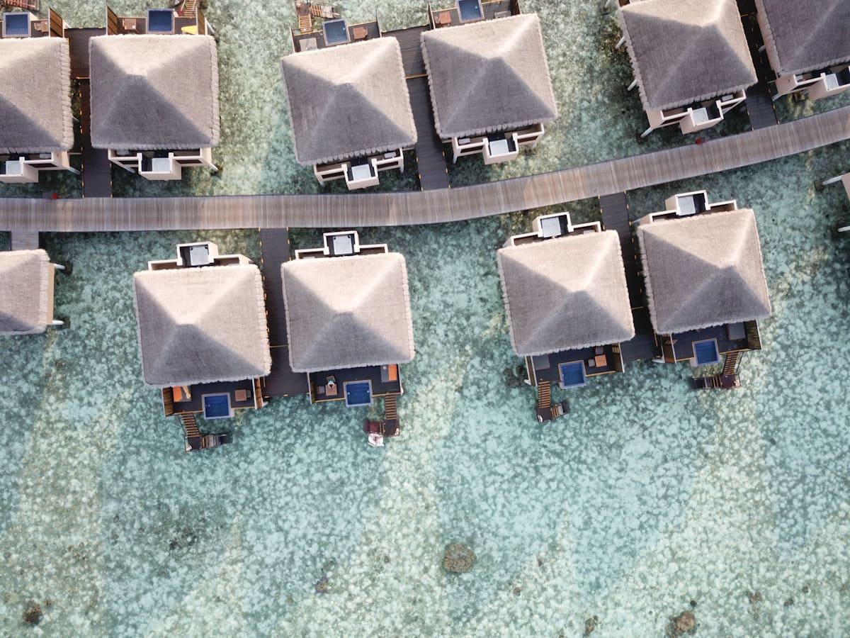 Aerial shot of the Adaaran Vadoo Maldives villas