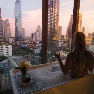 Bath tub & view at Amara bangkok